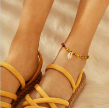 2019 Boho Sea Shell Anklet Colorful Beads Bracelet Chain Hippy Surf Foot Jewelry