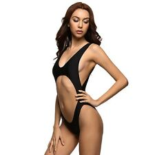 Black Cut Out Stomach Super High Waist Swimsuit One Piece Montana Love Island S