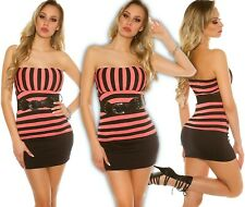 Sexy Bandeau Top Striped with Belt Push up Summer Top Blouse Shirt Longtop Cor