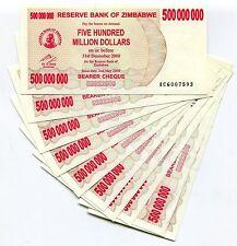 Zimbabwe 500 Million Dollars 2008 Bearer Cheque Unc AC X 10 Piece Lot - P60