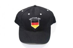 Deutschland Cap / Kappe schwarz Rand & Schrift weiß