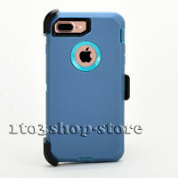 iPhone 7 Plus / iPhone 8 Plus Defender Rugged Case w/Holster Belt Clip Teal Blue