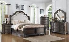 Crown Mark Sheffield Antique Grey Finish Solid Wood King Size Bedroom Set 5Pcs