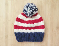 Cool Hand Made US Patriotic Hat in Pure Wool for Men - Beanie Hat -