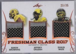 2017 Leaf Freshman Class Browning Jeff Okudah Wade Jersey Patch OSU Buckeyes /35