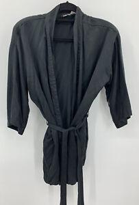 Vintage FREDERICK'S OF HOLLYWOOD Short Kimono Silk Robe w/Pockets & Belt