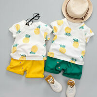 UK Toddler Baby Kids Boys Pineapple T-shirt Tops Solid Short Casual Outfit Set