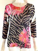 Bette Paige Womens L Blouse Pink Black Animal Floral Print Semi Sheer Stretch