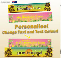 Customised Tropical Hawaiian Luau Birthday Party Decorations Gift Canvas Banner