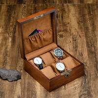 6 Slots Wooden Display Watch Box Bracelet Storage Collection Case Lock Xmas Gift