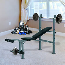 Lifting Bench Strength Training Adjustable Rack W/ Weight Set Home Gym