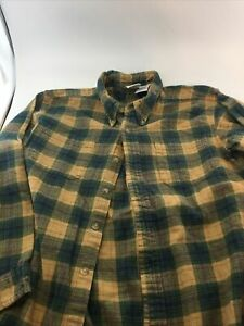 Bass Pro Shops Boys Size XL Flannel Shirt Green Plaid 100% Cotton Casual