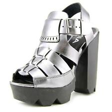 Zapatos de tacón de mujer de tacón alto (más que 7,5 cm) de color principal plata sintético