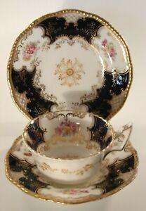 Antique Cobalt Batwing Blue Gilded Floral Trio Cup Saucer Side Plate c1910