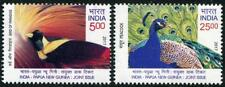 Peacocks mnh set 2 stamps 2017 India Birds Joint issue with Papua New Guinea