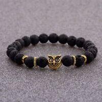 Natural Stone Lava Beads Diffuser Energy Gold Owl Head Women Men Bracelets New