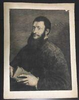 Portrait of Poet Pietro Aretino by Cornelis Van Dalen Engraving After Titian