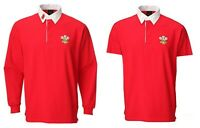 New Men's Long or Short Sleeve Traditional Welsh Feathers Collared Rugby Shirt