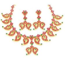 PAN SHAPE PRECIOUS RUBY EMERALD NECKLACE EARRINGS WITH 92.5 STERLING SILVER