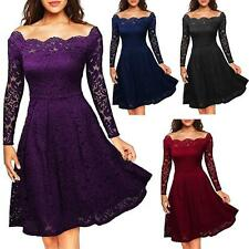 Women Floral Lace Plus Size Long Sleeves Cocktail Prom Gown Party Evening Dress