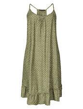 New M&S Womens Khaki Spotted Flippy Strappy Holiday Summer Dress Size 6-24