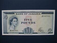 Muy escaso década de 1960 Jamaica £ 5 (Payton) billete (L. América/Caribe) crujiente GVF