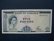 VERY SCARCE 1960's JAMAICA £5 (PAYTON) BANKNOTE (L.AMERICA/CARIBBEAN) CRISP GVF
