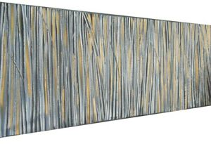 large Painting abstract Canvas original Art  Gold fields modern grey landscape