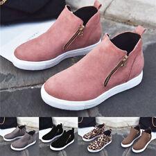 Damen Platform Hidden Wedge Heels Sneakers Reißverschluss Atmungsaktive Schuhe