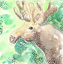 MOOSE PAINTING ORIGINAL moose antlers nature paintings gift for men man cave