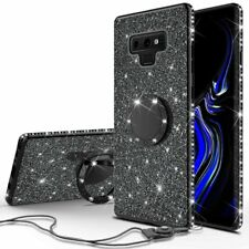 Samsung Galaxy Note 9 Glitter Bling Phone Case Girls Ring Kickstand Black