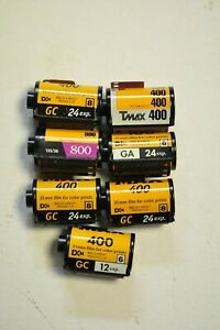 7-(seven)rolls of 35mm film. 6-color print and 1-Black & white. All expired.