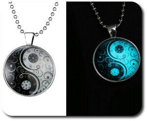 Luminoso Yin/Yang Collana Set Ciondolo Acrilico Catena Catenina con Sfere Stemma