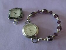 2 VINTAGE interchangeable watches (Swap & Geneva) and one purple beaded band