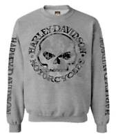 Harley-Davidson Men's Pullover Crew Sweatshirt H-D Willie G Skull Gray 30296655