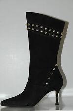 $2175!! New MANOLO BLAHNIK NENBIEMI BLACK NUBUCK BOOTS w STUDS SHOES 36.5 6