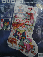 Christmas Holiday Bucilla Counted Stocking KIT,LET IT SNOW,Snowmen,Gillum,83682