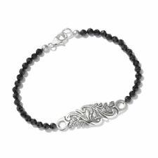 "Artisan Crafted Black Spinel 925 Sterling Silver Beads Strand Bracelet 7.5"""