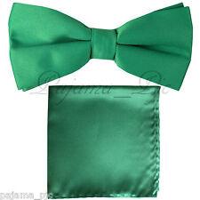 Emerald Green Men's Solid Straight Cut Bow tie & Pocket Square Hanky Wedding
