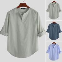 Mens Summer Long Sleeve Linen Blouse V Neck T-shirt Tops Henley Casual Shirt Tee