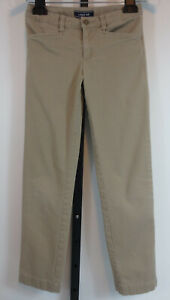Lands End School Uniform Girls Stretch Pencil Pants Size 10 Khaki Adj Waist READ