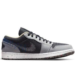 Air Jordan 1 Low Crater Black Grey DM4657-001 Basketball Shoes Sneakers
