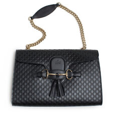 Gucci Emily Micro GG Black Guccissima Leather Shoulder Handbag Bag Gld Italy New