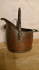 HANDSOME SMALL, NOT MINTURE VINTAGE COPPER & BRASS COAL SKUTTLE - LION HEADS