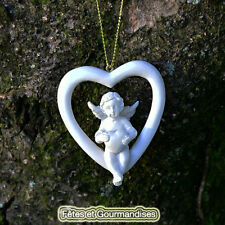 Ange coeur a suspendre figurine angelot cherubin deco dragees bapteme mariage