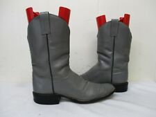 ADAMS Gray Leather Cowboy Boots Mens Size 12.5 AA