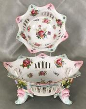 Antique Pair Dresden Germany Reticulated Footed Fruit Bowl Ornate Flowers Rococo