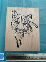 EXTRA LARGE Arizona Stamps Too Tiger Puma Lion Rubber Stamp, VINTAGE RARE
