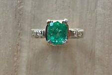 Genuine Colombian emerald ring, silver 925,  natural emerald, size 7