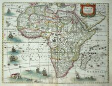 MERCATOR HONDIUS AFRICAE NOVA TABULA AFRIKA SEEMONSTER FREGATTEN TIERE 1631 / 33